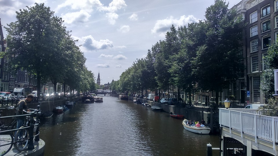 On the way into the city in Amsterdam along the canals.