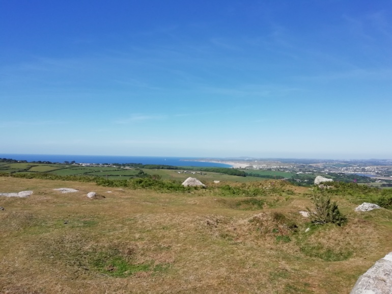 A view of Hayle bay area in Cornwall from Trencrom Hill